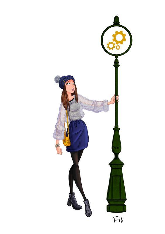 illustration inspirée d'un look de Kutch & couture http://kutchetcouture.com/2014/12/04/blue-mood/