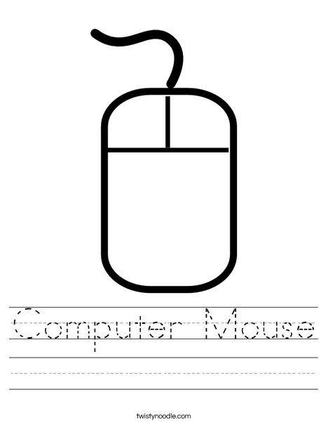 Computer Mouse Worksheet Twisty Noodle Kids Computer Elementary Computer Lab Computer Lessons Kindergarten computer worksheets