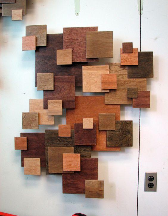 Pared de mosaico arte r stica and escultura de madera on for Mosaico madera pared