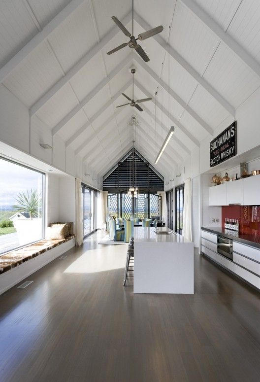 Love the length, the ceilings, the floors, the long bench seating window. Farmhouse / RTA Studio + Interior Shop + Loft: