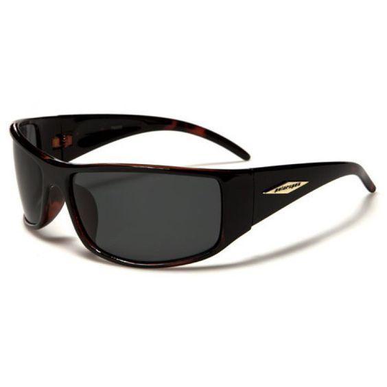 Polarspex Mens Rectangular Frame Polarized Sports Glasses Black and Brown with Gray Lenses