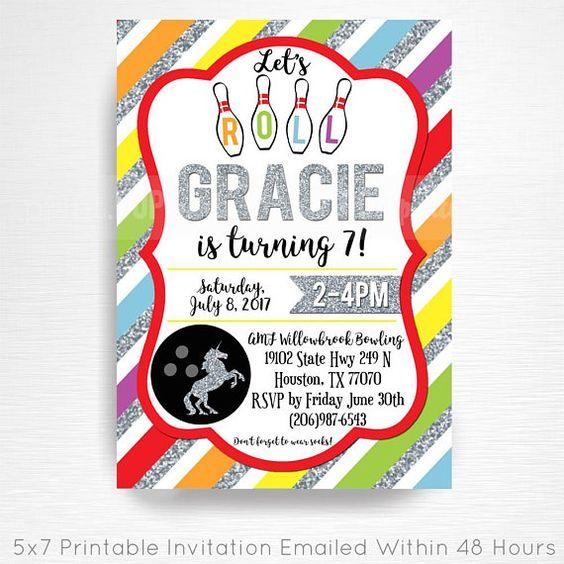 Rainbows And Unicorns Bowling Birthday Party Printable Etsy Bowling Birthday Party Printable Invitations Photo Invitations