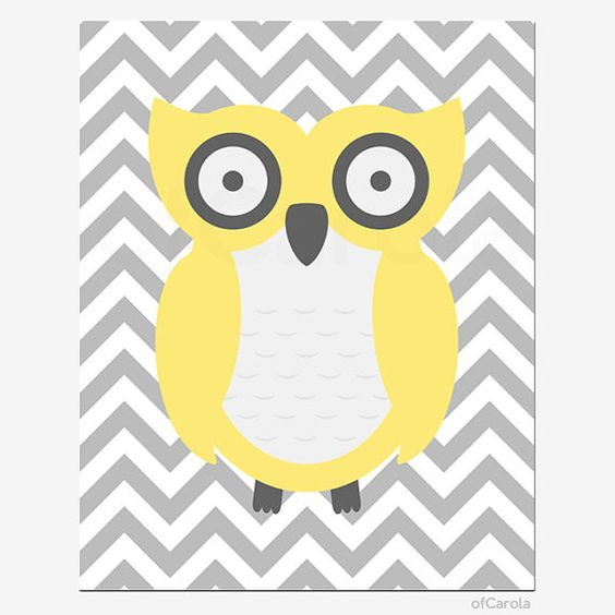 Owl Nursery Wall Art Print, Personalized Yellow Gray White Baby ...