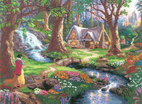 Thomas Kinkade Snow White Discovers The Cottage Counted