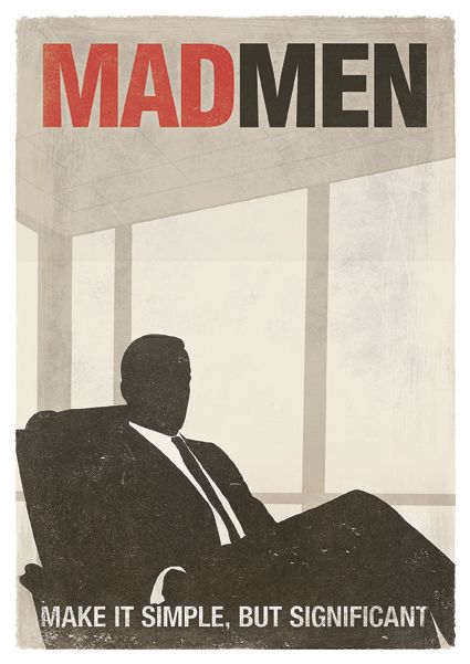 Mad Men; TV Show Inspired Minimalist Poster.  The print features the silhouette of Don Draper sitting in front of the big windows of his office.