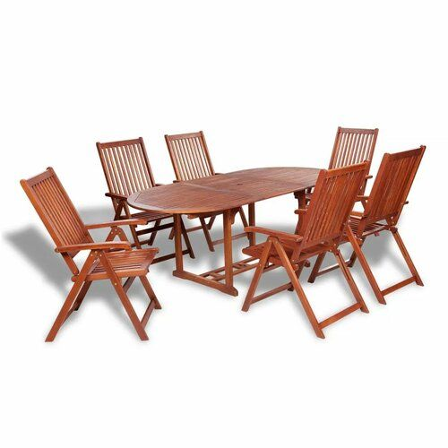 Sol 72 Outdoor Chan 6 Seater Dining Set Outdoor Furniture Sets Outdoor Dining Set Wooden Dining Set