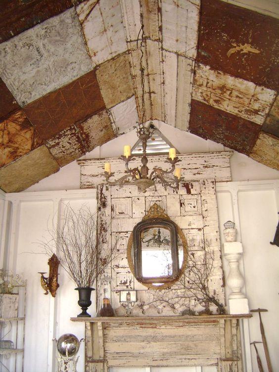 Patchwork antique tin ceiling