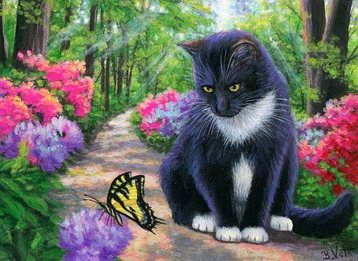 Aceo Original Tuxedo Cat Butterfly Azalea Flowers Spring Painting Art Art Paintings Ebay Cat Art Cats Animal Art