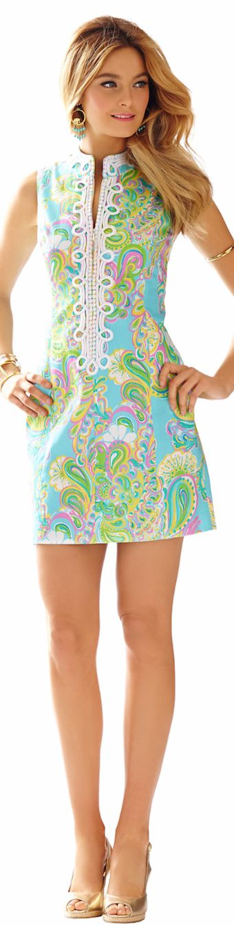LILLY PULITZER ALEXA HIGH COLLAR SHIFT DRESS - spring 2015: