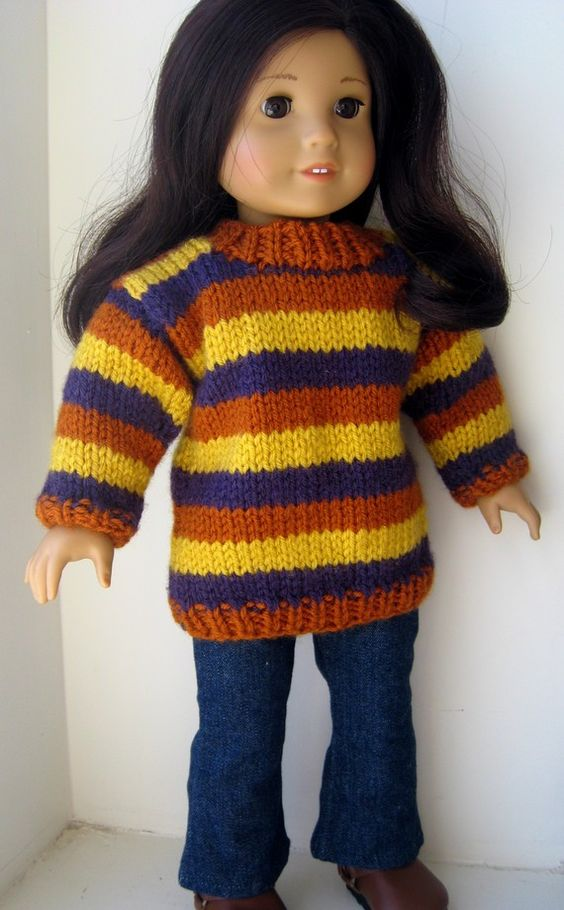 Knitting Pattern For Doll Booties : PDF KNITTING PATTERN, Tunic Length Striped Sweater for American Girl Doll and...