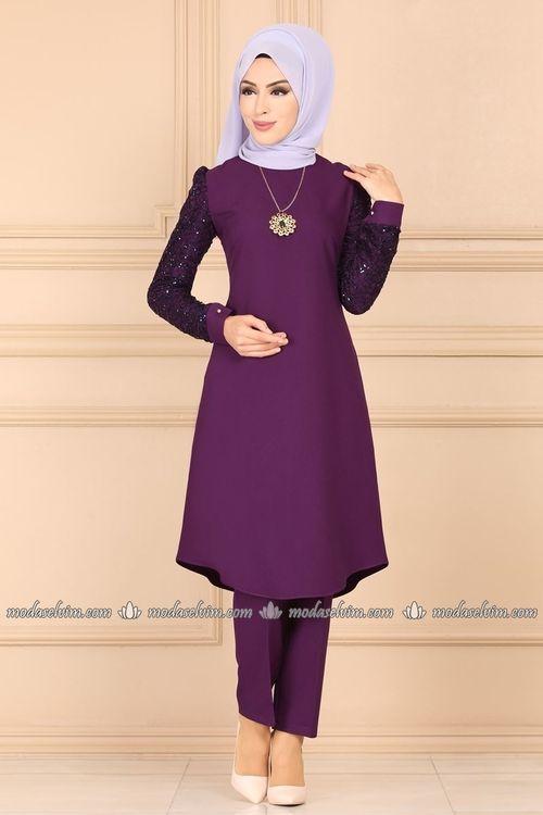 Modaselvim Kombin Kollari Pul Payetli Tesettur Takim Asm2179 Mor Musluman Modasi Moda Stilleri Sifon Elbise
