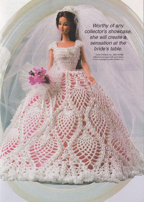 Crochet Pattern Doll Dress : Crochet patterns, Fashion dolls and Crochet on Pinterest