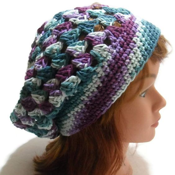 Crochet Granny Square Hat Pattern Free : Cotton Summer Tam, Ombre Beach Hat, Granny Square Hat ...