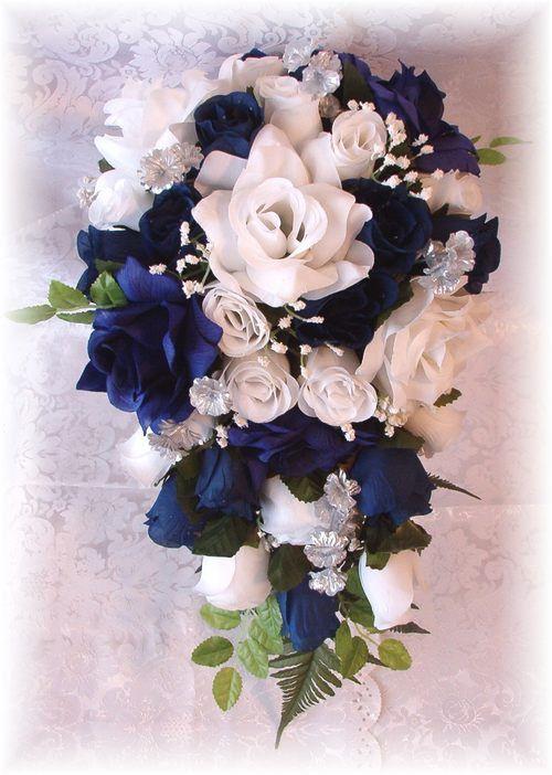 Marine Wedding Bouquet 21pc Navy Blue White Silver by petalnpink