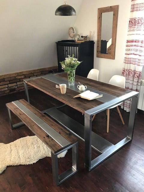 Industrial Set Still Rustic Style Dining Table And Bench This Beautiful Kitchen Dining Room Set Is Rustic Kitchen Tables Welded Furniture Steel Dining Table