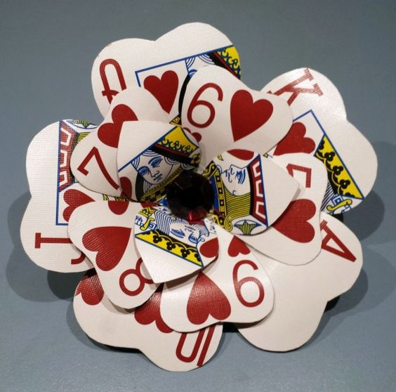 J♥ 7♥ Q♥ 6♥ K♥ 5♥ A♥ 9♥ 10♥ 8♥ Make Playing Card Flowers - Dollar Store Crafts
