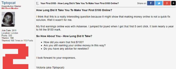 How long did it take to make your first $100 online?