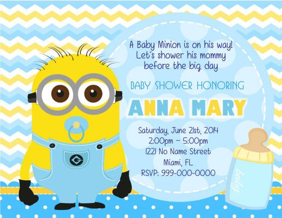 minion baby invitation baby shower invitation 1st by fiestaprint 8