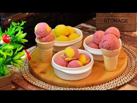 آيس كريم بالفواكه بس بتلات مكونات أسهل وأطيب من هيك مافي Youtube Desserts Ice Cream Food