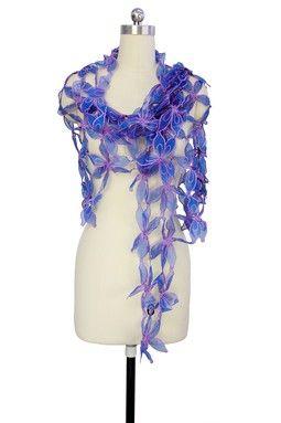 Lavender & Electric Blue Floral Cutout Silk Wrap