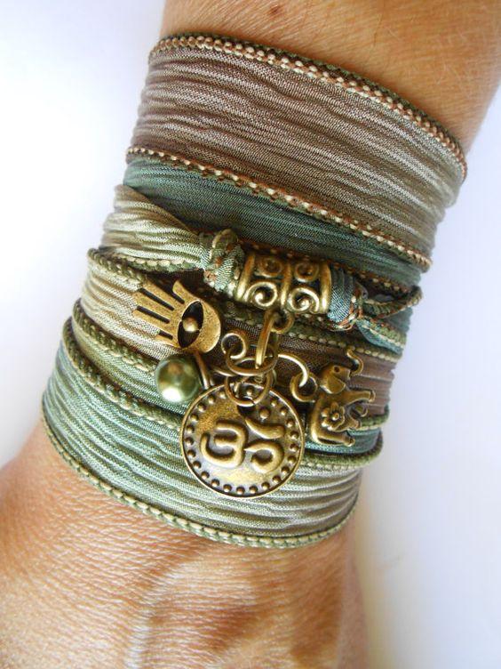 Namaste Hamsa Yoga  jewelry Silk wrap bracelet Elephant , Om jewelry Bohemian  Spiritual wrapped bracelet Hamsa hand of Fatima gift for her