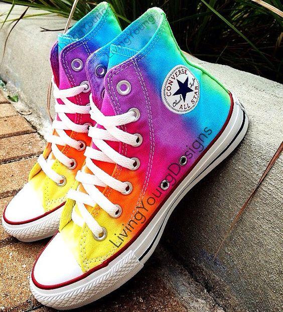 TIE DYE CONVERSE Rainbow Custom Tie Dye Hi by LivingYoungDesigns