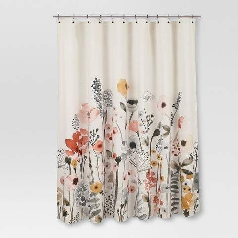Farmhouse Threshold Shower Curtain Floral Wave Floral Shower