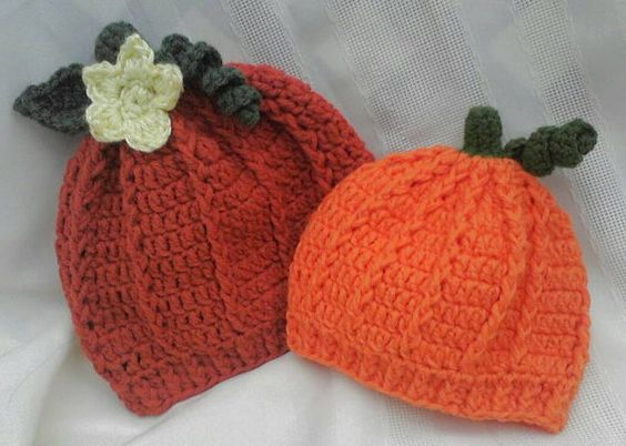 Crocheted Pumpkin Hats by MamaTCrafts on Etsy, $17.00