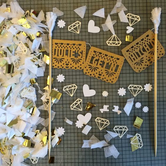 Papel Picado Banner Cake Topper  #gold #sparkle #cake #topper #paper #papelpicado #fiesta #party #maxican