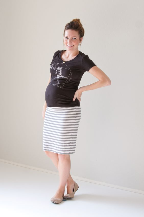 simple t-shirt with pencil skirt