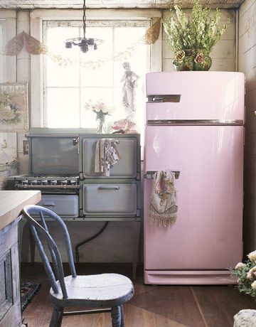This refrigerator, formerly brown, was purchased for $30 at a garage sale. The owner took it to an automotive painter and had it turned shell pink. Great idea!