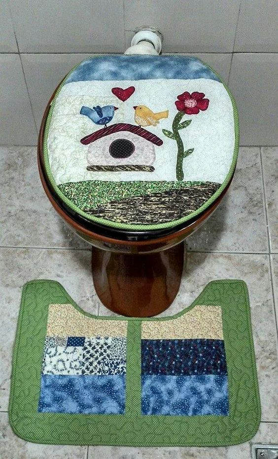 Jogo banheiro casa de passarinho. Projeto revista pachwork