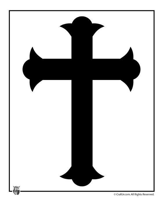 Cross black and white template easter templates to print easter cross template craft jr for Cross template free
