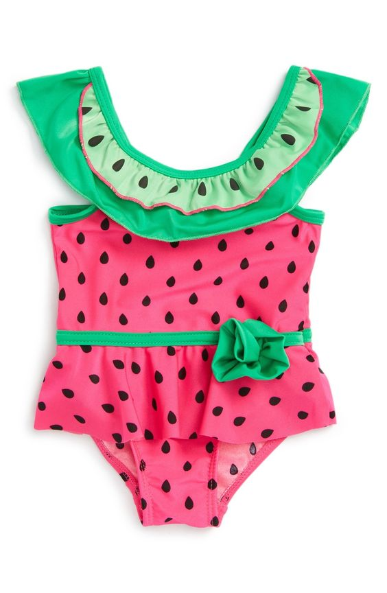 adorable watermelon print little girl's swimsuit
