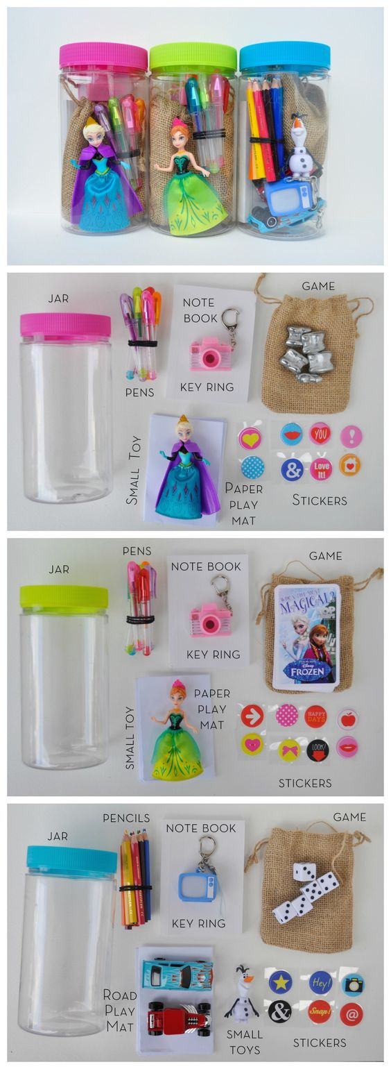 DIY Fun Play Jar. These are great for: Birthday Parties – make smaller ones for party favours or do up one as a gift, Easter Egg hunt – hide paper clues inside plastic eggs (each egg leading to the next) and hide fun play jars at the end. Travel – throw in a bag and there's hours of fun to be had! School holidays. Camping – when you don't want to take loads of toys.