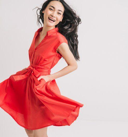 Vintage style dress- 100% cotton- red- slash pockets &lt-3 Vestito  ...