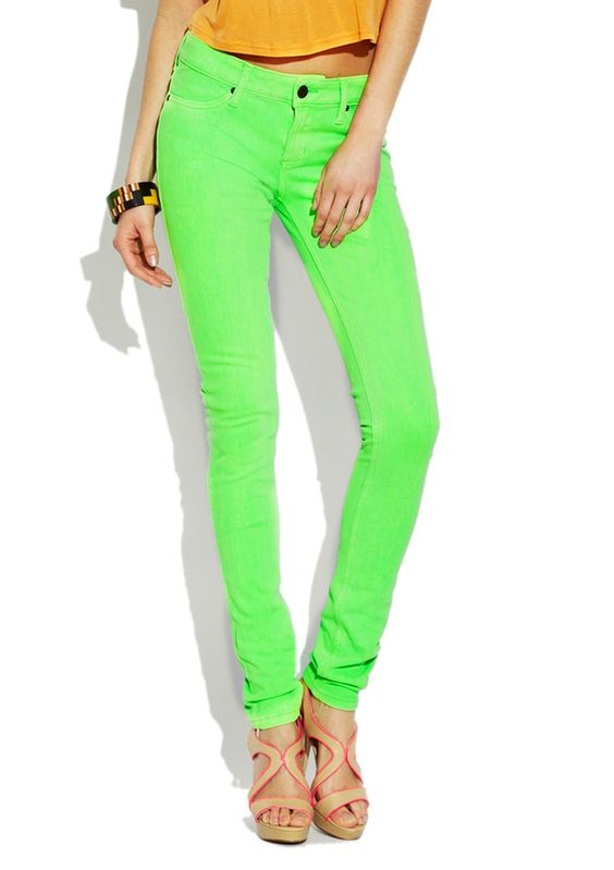 Get your glow on with lime green skinny jeans! | We&39re Feeling