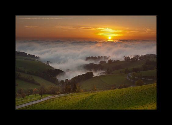 Abend Herbst Hochdruck Hochnebel Inversion Landschaft Nebel Schwarzwald Sonnenuntergang Wind