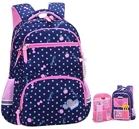 Cute girl bow print waterproof and wearable primary school bag