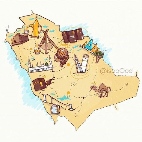 Map Of Saudi Arabia National Day Saudi Saudi Arabia Culture Illustrated Map
