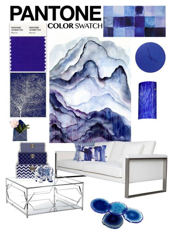 """Pantone Blue Iris"" by jesking ❤ liked on Polyvore featuring interior, interiors, interior design, home, home decor, interior decorating, Leftbank Art, Three Hands, RabLabs and Dot & Bo"