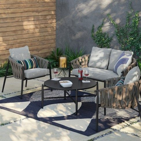 Casson Metal Top Patio Coffee Table Black Project 62 Patio