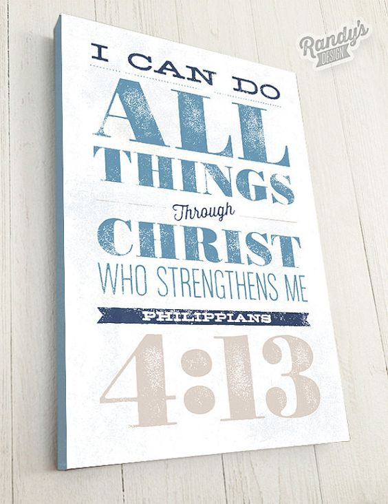 Custom Scripture Wall Art, Bible Verse, Canvas Typography Art, Philippians 413, Christian Art Decor, Premium Canvas