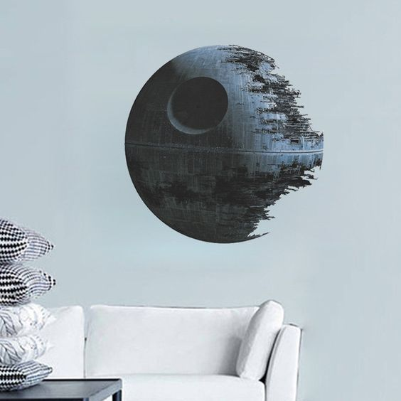 Oderin Art 3d Wall Decal Star Wars Death Star Removable Mural Wall Stickers Art for Home Classroom Decor