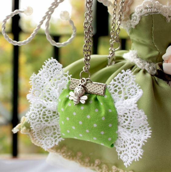 Small Green Bag with Lace Wings by dalgia on Etsy
