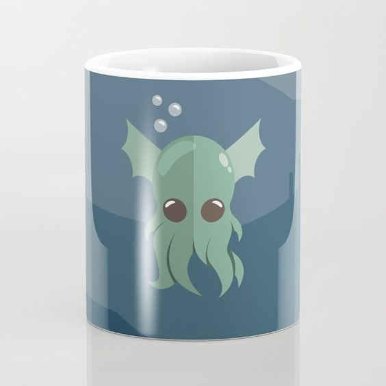 Cthulhu Mug - Lovable Legends, mythical creature, octopus, demon, tentacles, legend, sea, ocean, water, seaweed, squid, cute, baby cthulu, art, design, vector, illustration