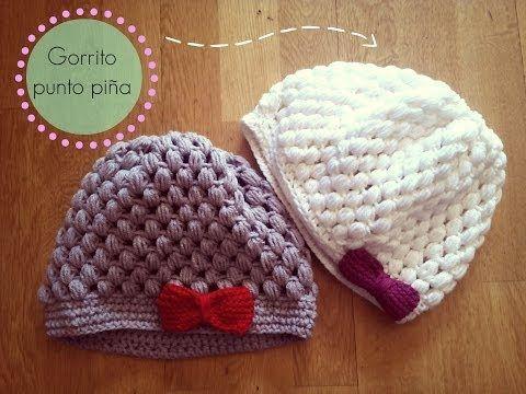 Gorro de ganchillo f cil punto pi a crochet hat puff - Como hacer flores de ganchillo ...