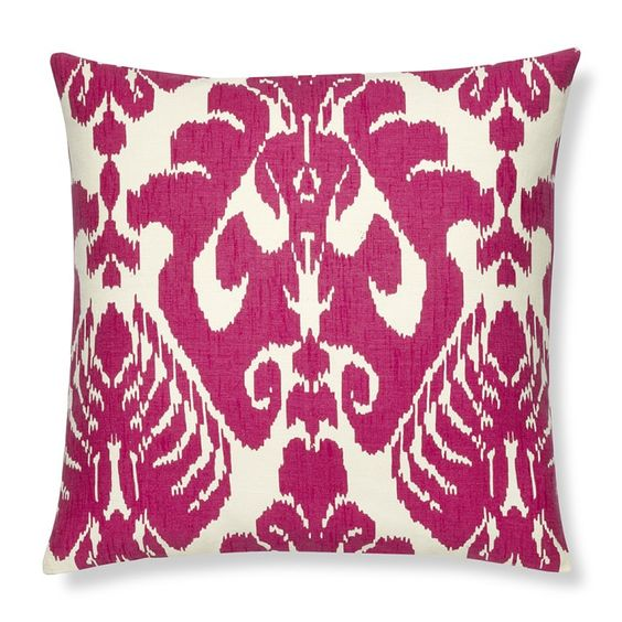 Silk Ikat Medallion Pillow Cover, Rasberry