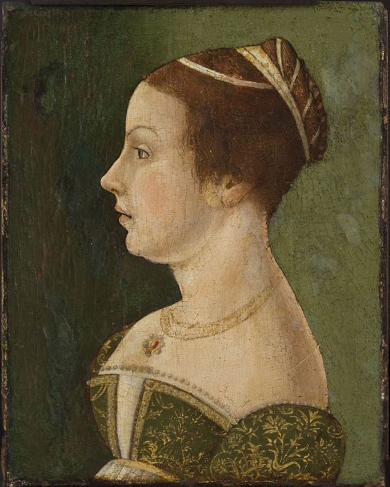 history-of-fashion:  ab. 1475-1480 maker unknown, active Venice, Italian - Portrait of a Lady