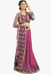 Admyrin Magenta Embroidered Saree Online Shopping Store